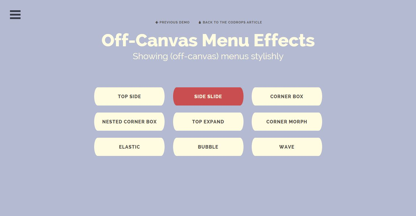 off canvas menu effects
