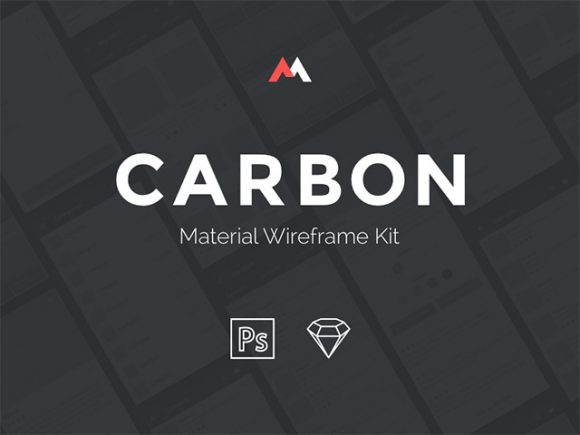 carbon google material wireframe ui kit psd sketch
