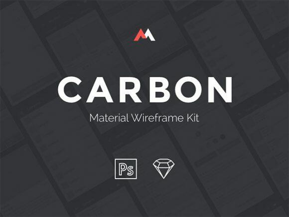 carbon google material wireframe ui kit psd sketch