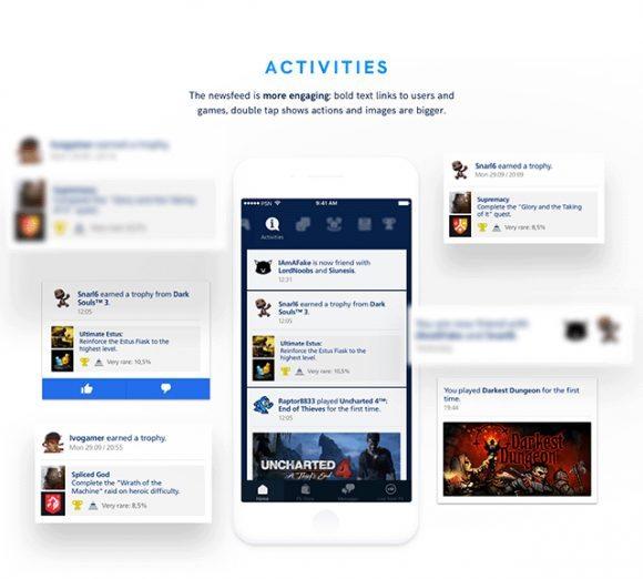 Playstation app redesign – Free Sketch UI kit